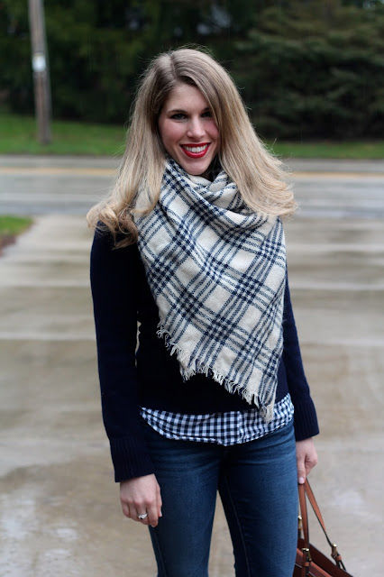 gingham button up, navy sweater, plaid flats, Tory Burch tote, white plaid blanket scarf, Anjolee jewelry