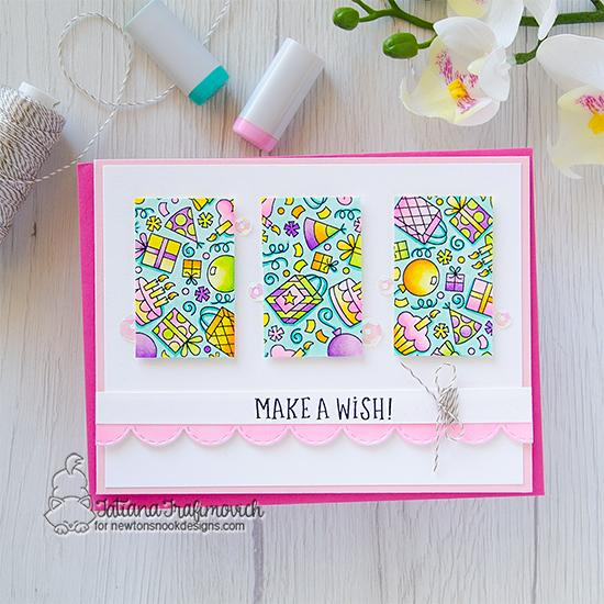 Make a Wish Birthday Card by Tatiana Trafimovich | Birthday Roundabout Stamp Set and Land Borders Die Set by Newton's Nook Designs  #newtonsnook #handmad