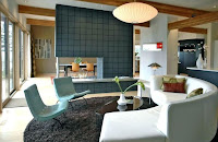 Modern living room with mid-century furniture