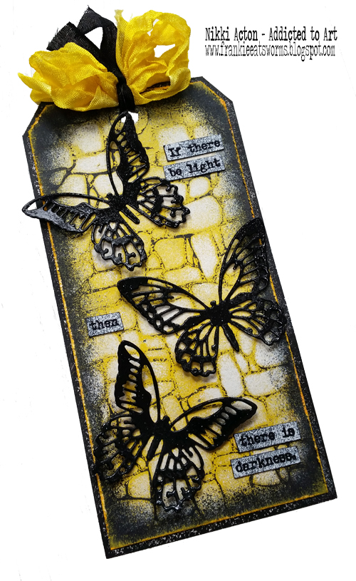 Tag featuring PaperArtsy stamps by Alison Bomber plus Tim Holtz Stone Layering stencil and Mini Detailed Butteflies
