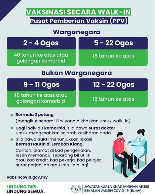 Senarai PPV untuk vaksinasi walk-in di Lembah Klang bermula 2 Ogos ini
