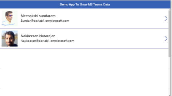 Demo App to Show MS Teams Data