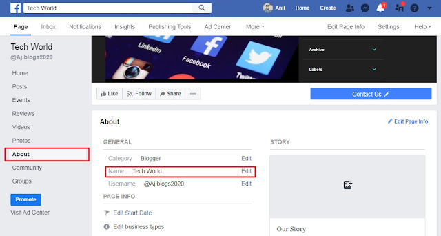 Facebook Page Url Change