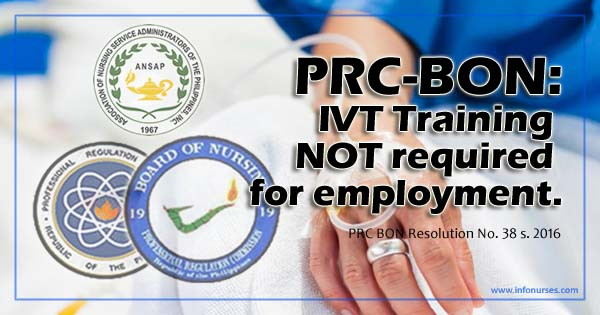 PRC BON declares IV Therapy Training not required for employment