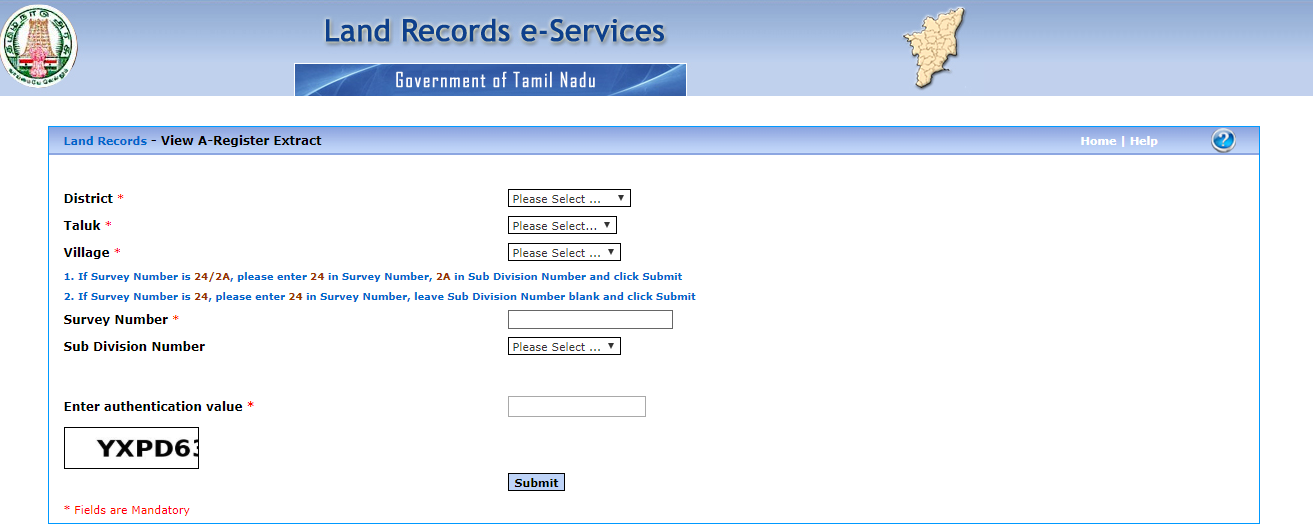 Land Records A-Register Extract