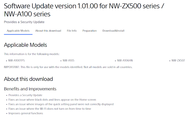 Firmware Update version Sony NW-ZX500 NW-A100