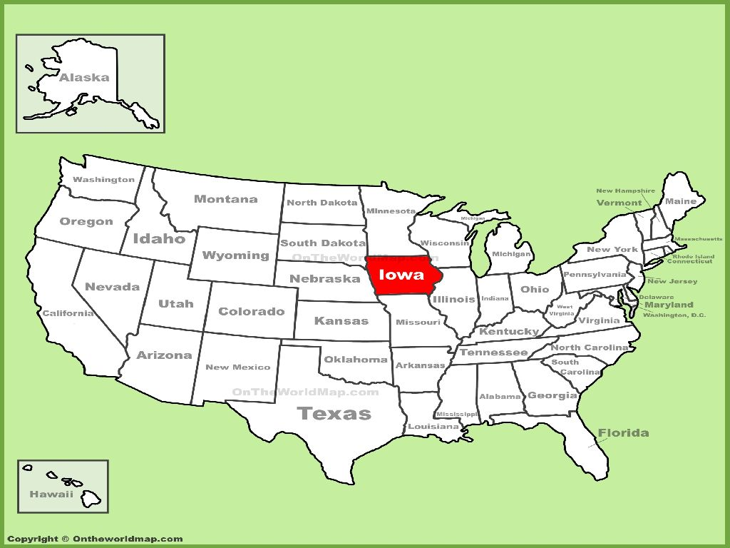 iowa on a map of the united states