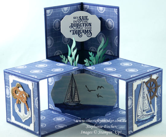 #thecraftythinker #stampinup #cardmaking #smoothsailing #sailinghome #3dcubecard #funfold , Smooth Sailing, Sailing Home stamp set, 3D Cube Card, Fun Fold, Masculine Card, Stampin Up Demonstrator, Stephanie Fischer, Sydney NSW