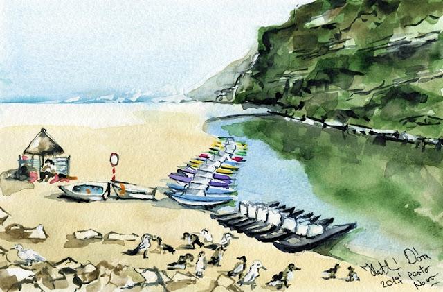 Morning At Porto Novo Beach original watercolor painting by Dora Hathazi Mendes