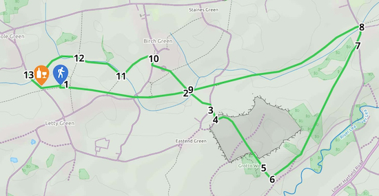 Map for Walk 93: Grotto Wood Loop  Created on Map Hub by Hertfordshire Walker  Elements © Thunderforest © OpenStreetMap contributors  Note: There is a larger, more detailed map embedded at the end of these directions
