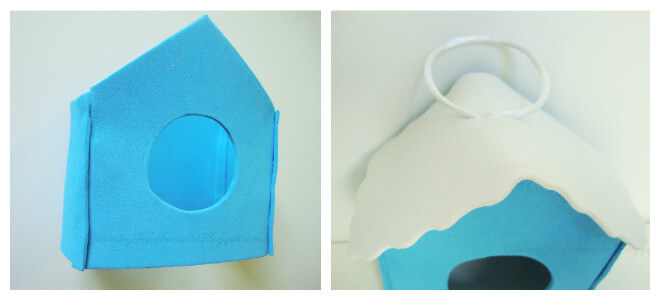 casita y el tejado de la casita nido para pájaros en goma eva
