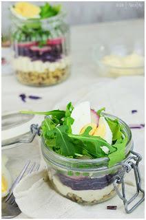 ensalada de pollo en vaso- ensalada de 7 capas en vaso- ensalada en vaso