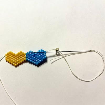 Double brick stitch heart pattern by Lisa Yang Jewelry