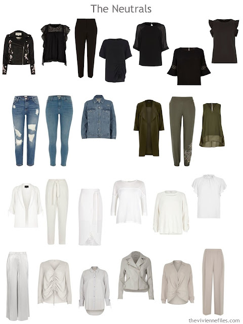 "Neutral clothes in seven colors, taken from a 50-piece ""magpie"" wardrobe"