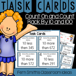 Second Grade Go Math 2.9 Count On and Count Back By 10 and 100 Task Cards