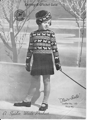 1940s vintage knitting pattern; Fair Isle; child's jumper, beret & gloves