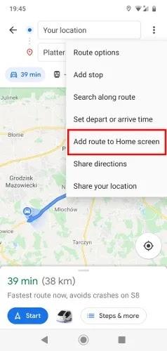 كيفية حفظ المسار على خرائط جوجل أضف الطريق إلى الشاشة الرئيسية