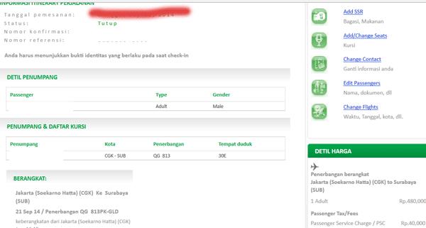 tampilan cek pemesanan tiket di situs citilink