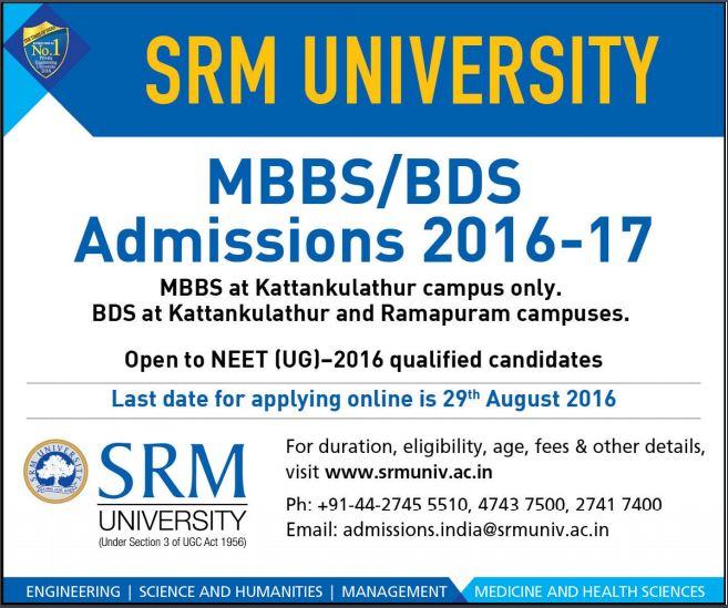 SRM University MBBS/ BDS Admissions 2016
