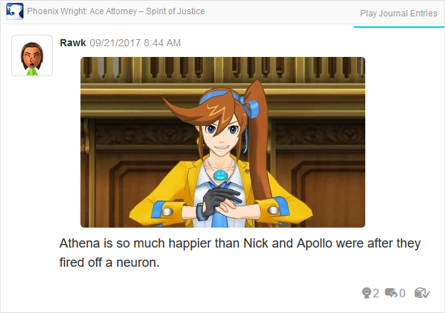 Phoenix Wright Ace Attorney Spirit of Justice Athena Cykes face after thought route
