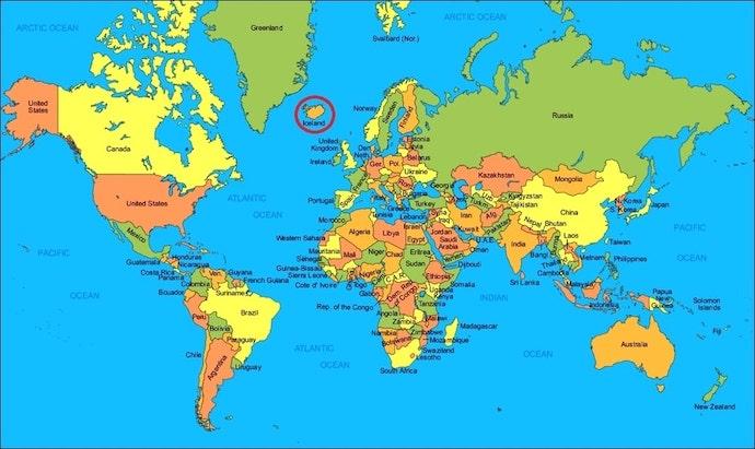 İzlanda Dünya Haritası