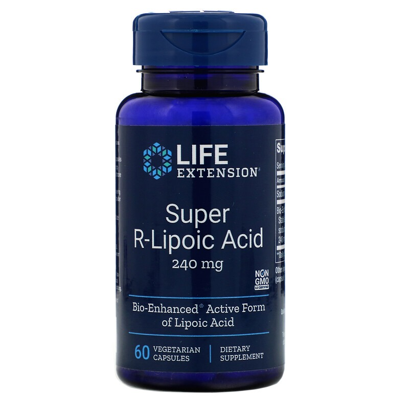 Life Extension, супер R-липоевая кислота, 240 мг, 60 вегетарианских капсул