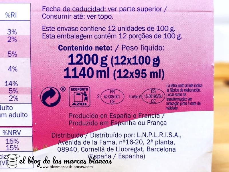 """Fabricante del L-Casei fresa (tipo """"Actimel"""") MILBONA (Lidl) en El Blog de las Marcas Blancas."""