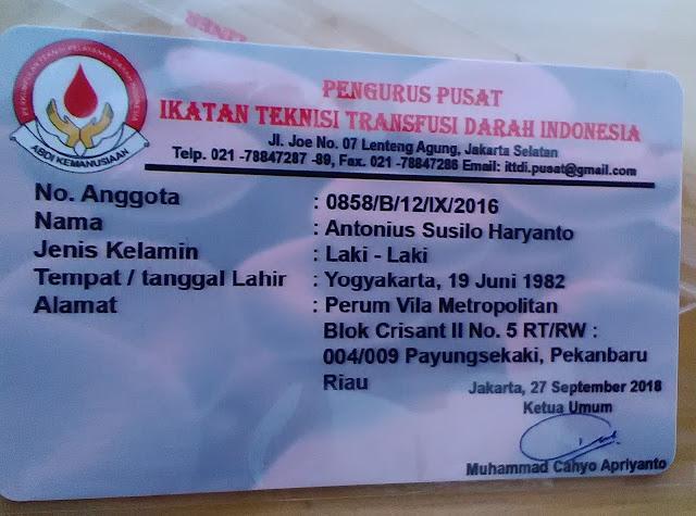 Kartu Anggota Transfusi Darah
