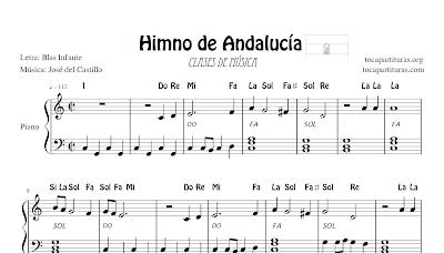 Himno de Andalucía Partitura de Piano muy fácil con acordes para acompañar y notas