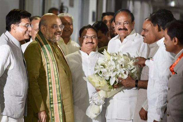 Vice presidential candidate M. Venkaiah Naidu with BJP President Amit Shah and other party leaders on Monday. The cabinet reshuffle is expected after the monsoon session of Parliament