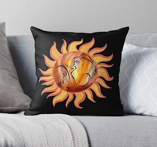 Watercolor Sun Paining by Irina Sztukowski on pillow