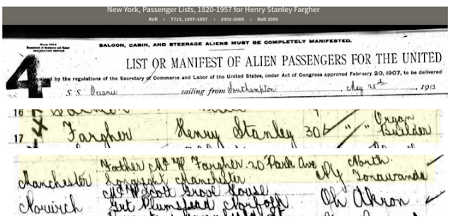 henry stanley fargher on passenger list of oceanic