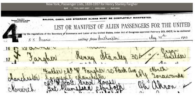 henry stanley fargher on passenger list of oceanic