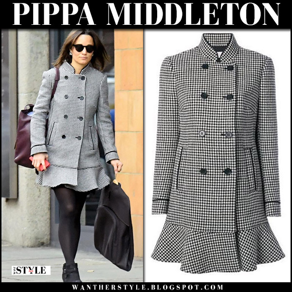 Pippa Middleton in grey houndstooth peplum coat valentino and black ankle boots street fashion november 1 2017