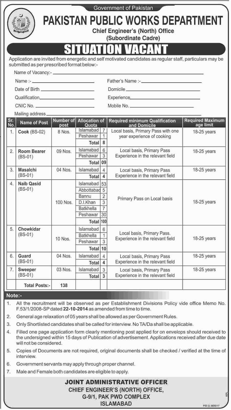 PWD Jobs In Pakistan Public Works Department Islamabad