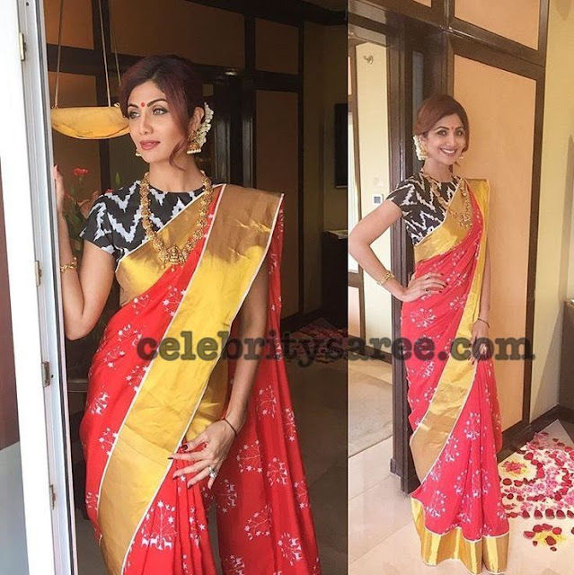 Shilpa Shetty Ikkat Saree