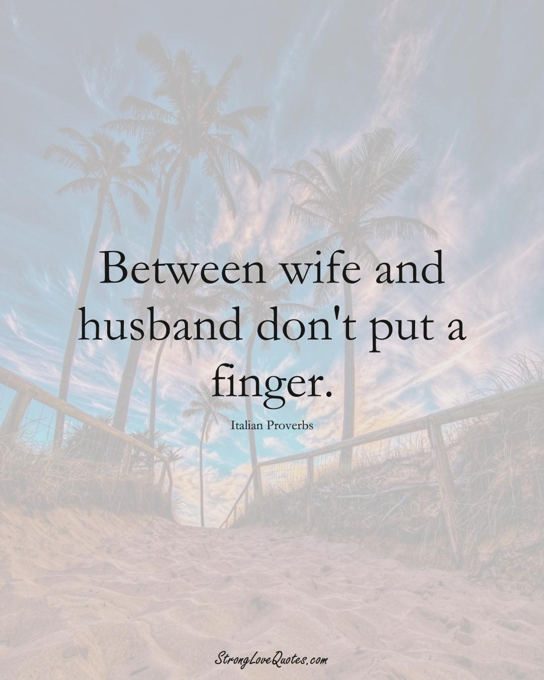Between wife and husband don't put a finger. (Italian Sayings);  #EuropeanSayings