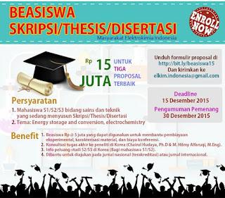 Beasiswa SKRIPSI/THESIS/DISERTASI
