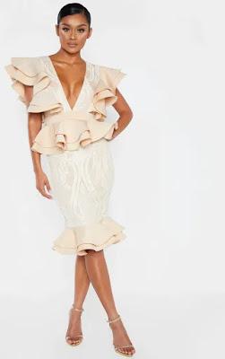 Nude Ruffle Detail Plunge Midi Prom dress