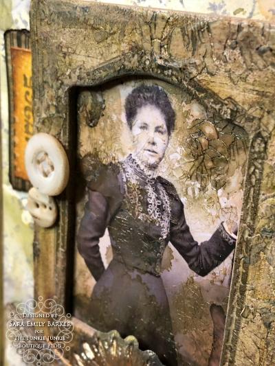Sara Emily Barker https://sarascloset1.blogspot.com Vintage Mixed Media Card Tim Holtz Sizzix Crochet Burst 3D Impresslits 2