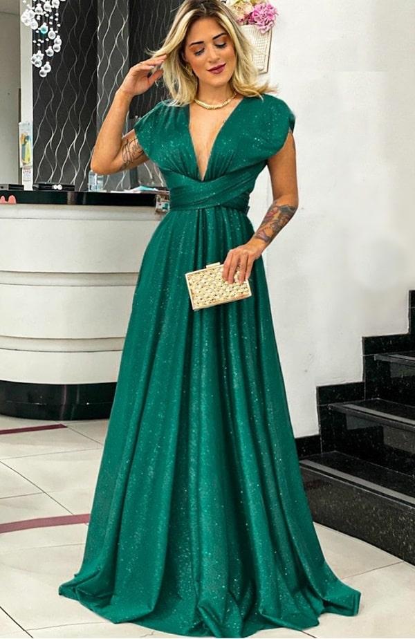 vestido longo verde esmeralda modelo multiformas glitter