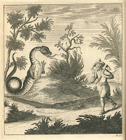 A black and white illustration of a two-legged, wingless dragon or warm startling a man with an axe.