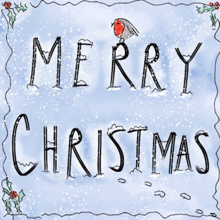 Merry Christmas in snowy hand-drawn letters with a robin