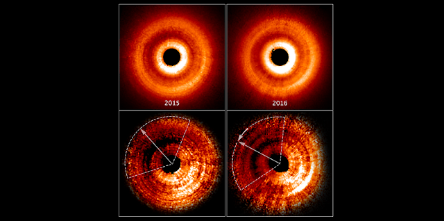These images, taken a year apart by NASA's Hubble Space Telescope, reveal a shadow moving counterclockwise around a gas-and-dust disk encircling the young star TW Hydrae. The two images at the top, taken by the Space Telescope Imaging Spectrograph, show an uneven brightness across the disk. Through enhanced image processing (images at bottom), the darkening becomes even more apparent. These enhanced images allowed astronomers to determine the reason for the changes in brightness. The dimmer areas of the disk, at top left, are caused by a shadow spreading across the outer disk. The dotted lines approximate the shadow's coverage. The long arrows show how far the shadow has moved in a year (from 2015-2016), which is roughly 20 degrees. Based on Hubble archival data, astronomers determined that the shadow completes a rotation around the central star every 16 years. They know the feature is a shadow because dust and gas in the disk do not orbit the star nearly that quickly. So, the feature must not be part of the physical disk. The shadow may be caused by the gravitational effect of an unseen planet orbiting close to the star. The planet pulls up material from the main disk, creating a warped inner disk. The twisted disk blocks light from the star and casts a shadow onto the disk's outer region. Credits: NASA, ESA, and J. Debes (STScI)
