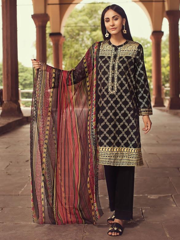 Limelight Lawn suit with Dupatta Black color