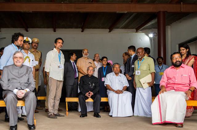 President Pranab Mukherjee, Kerala Governor Chief Justice (Retd) Shri  P Sathasivam , Chief Minister Shri Pinarayi Vijayan and Minister for Tourism Shri Kadakampally Surendran spending time on American artist Camille Norment's work 'Prime' at Kochi Biennale.