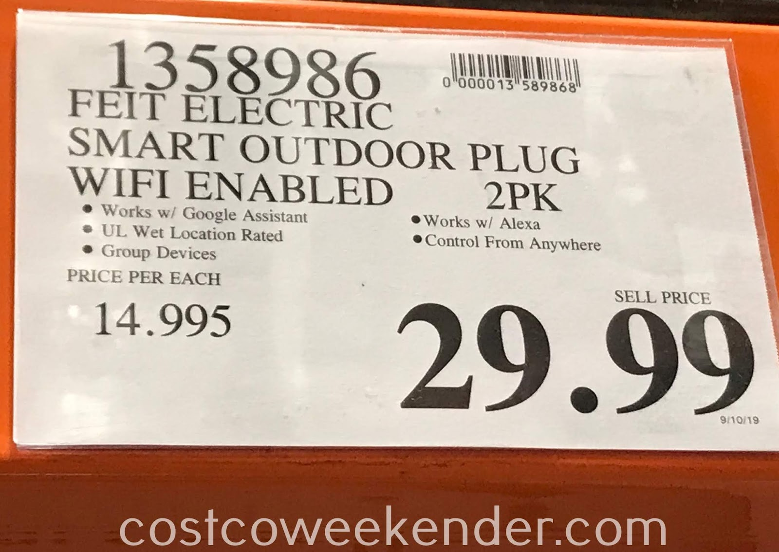 Deal for a 2 pack of Feit Electric Dual Outlet Outdoor Smart Plugs at Costco