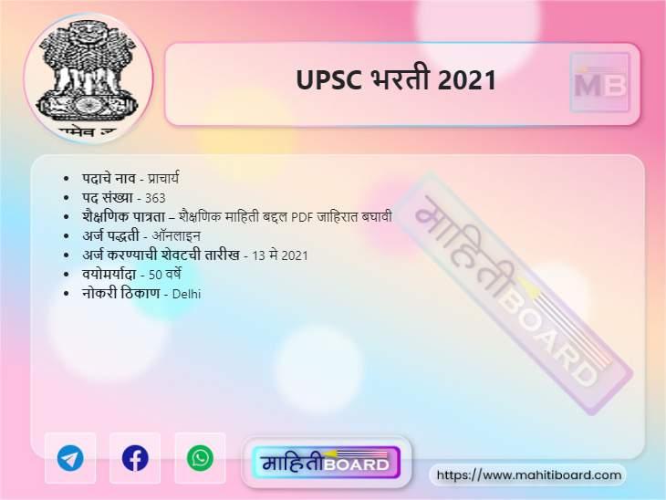 UPSC Bharti 2021