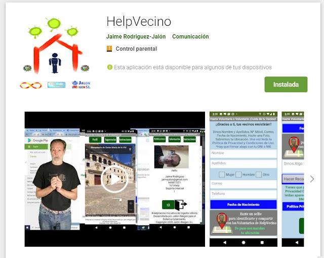 helpvecino app desarrollada con app-inventor para ayudar a las personas y subida a Google Play