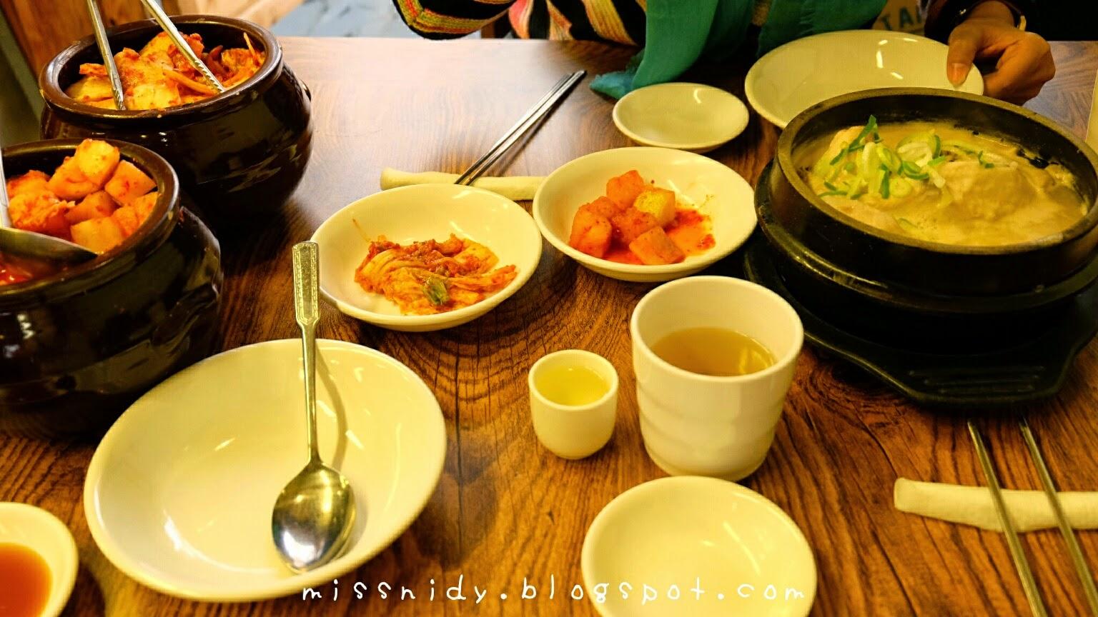 menu at tosokchon seoul